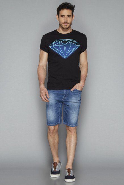 Nuon by Westside Black Printed T Shirt