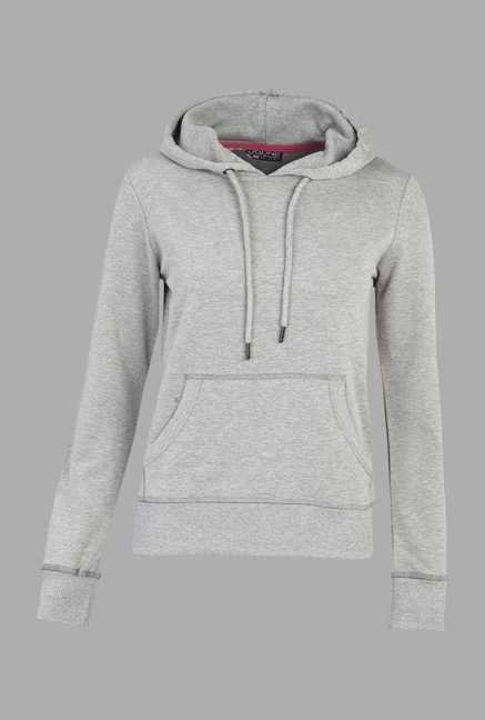 Doone Grey Solid Training Hoodie