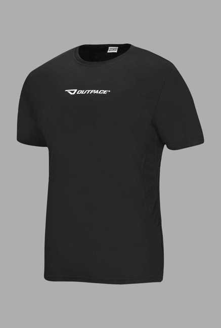 Outpace Black Solid Running T Shirt