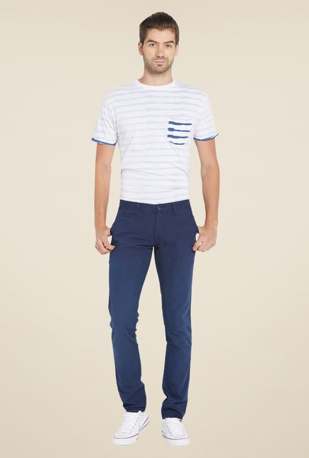 Globus Navy Solid Chinos