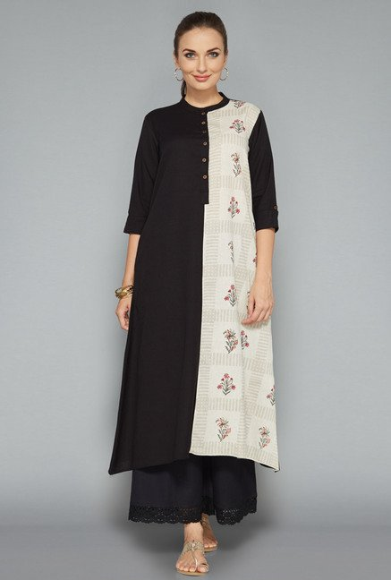 Utsa by Westside Black & White Floral Print Kurta