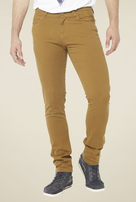 Globus Camel Brown Solid Chinos