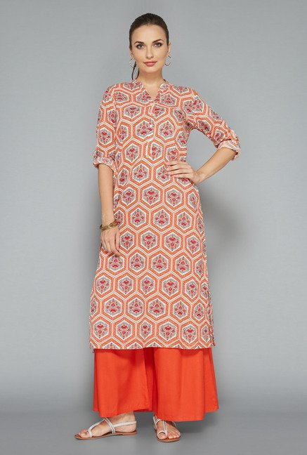 Utsa by Westside Orange Floral Print Kurta