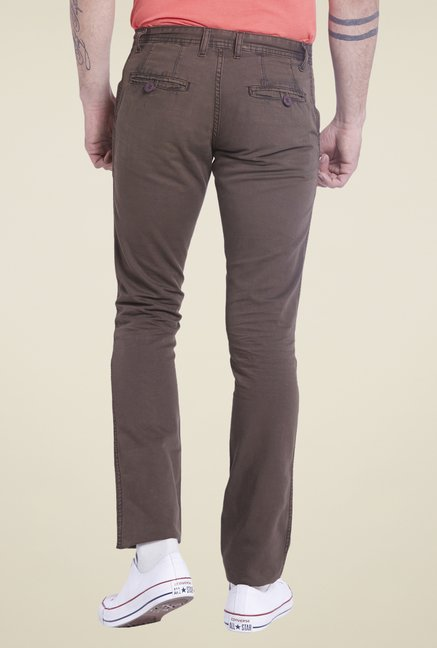 Globus Brown Solid Chinos