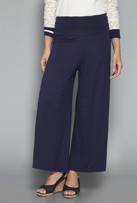 LOV by Westside Navy Solid Palazzos