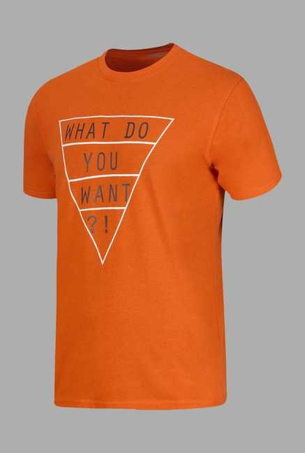 Doone Orange Printed Training T Shirt