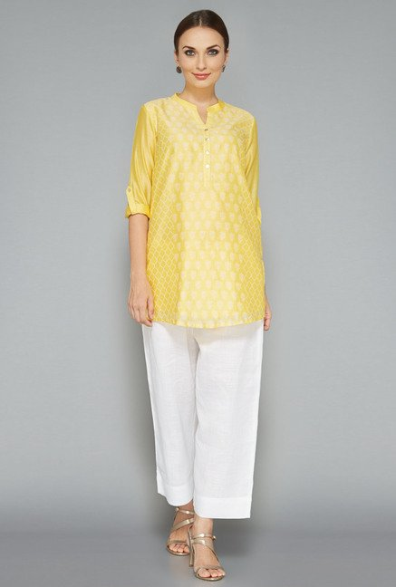 Zuba by Westside Yellow Floral Print Kurti