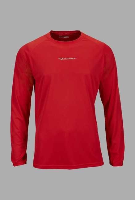 Outpace Red Solid Running T Shirt