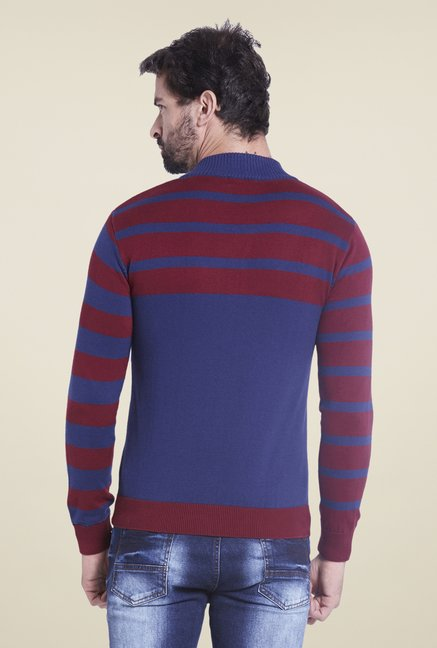 Globus Maroon & Blue Striped Sweatshirt