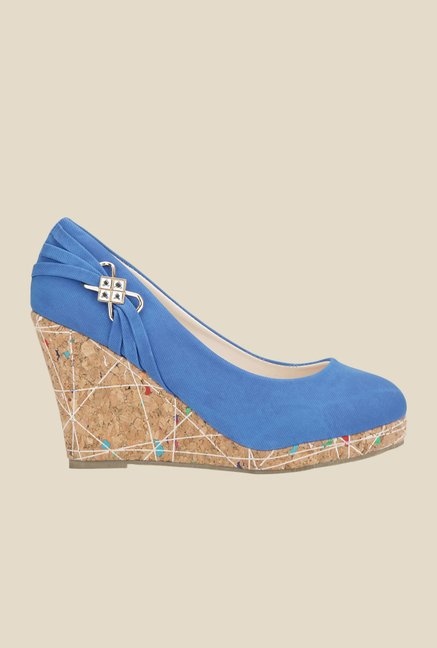 Yepme Royal Blue & Brown Wedge Heeled Pumps
