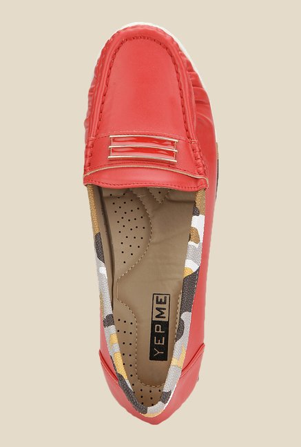 Yepme Red Wedge Loafers