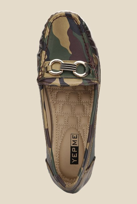 Yepme Army Green Wedge Loafers