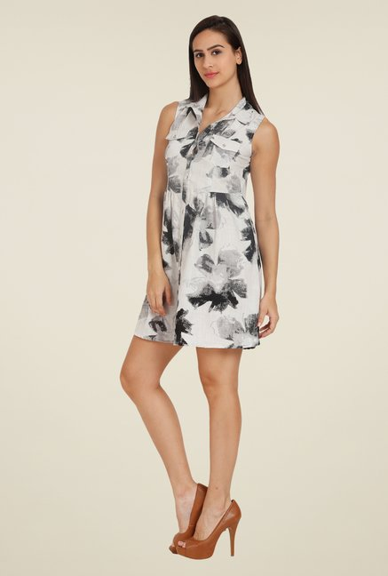 Forever Fashion White Printed Linen Dress