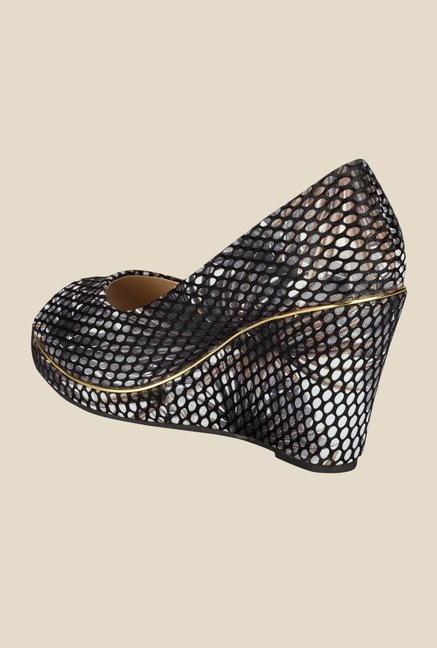 Yepme Black & Silver Peeptoe Wedges