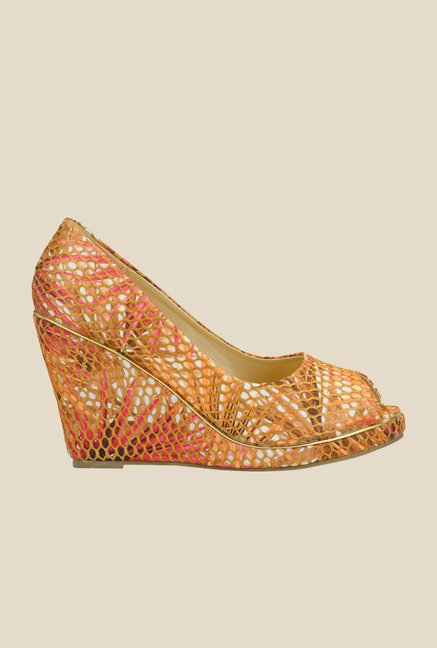 Yepme Orange & Pink Peeptoe Wedges