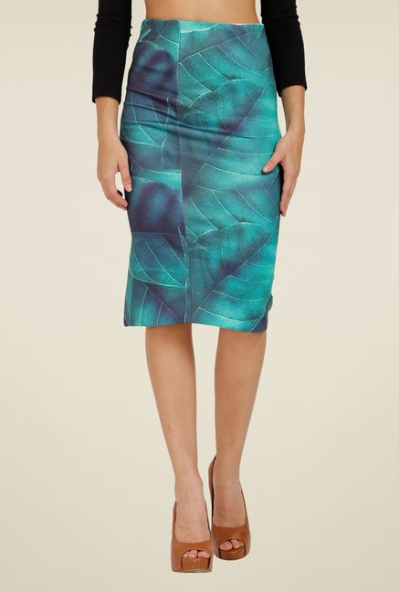 Forever Fashion Green Printed Skirt