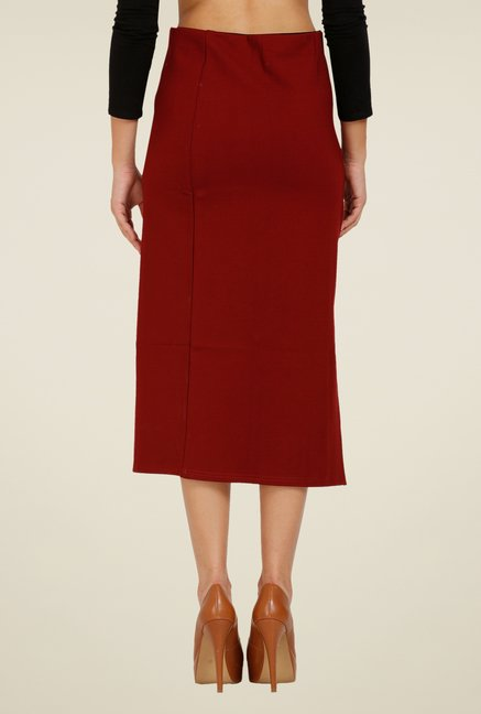 Forever Fashion Maroon Solid Skirt
