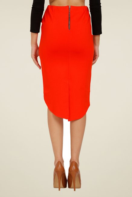 Forever Fashion Orange Solid Skirt