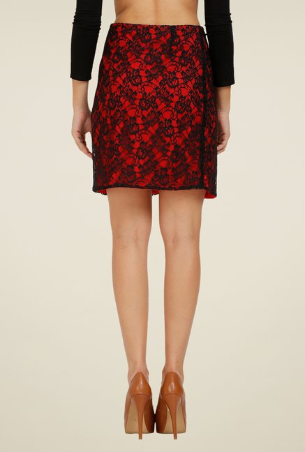 Forever Fashion Red Lace Skirt