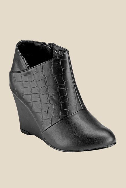 Yepme Black Wedge Heeled Boots