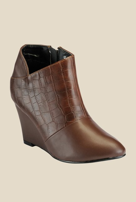 Yepme Brown Wedge Heeled Boots