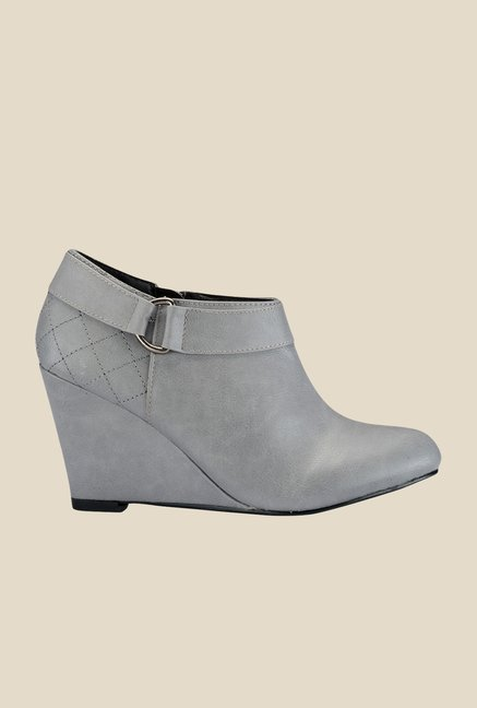 Yepme Grey Wedge Heeled Boots