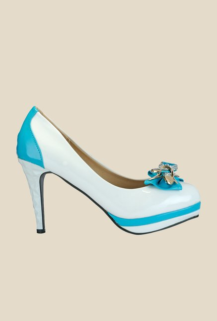 Yepme White & Blue Stiletto Pumps