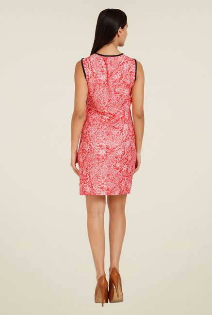 Forever Fashion Coral Paisley Print Dress