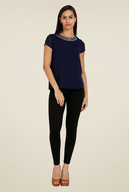 Forever Fashion Navy Solid Top