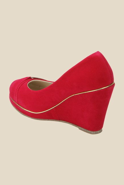 Yepme Red Wedge Heeled Pumps
