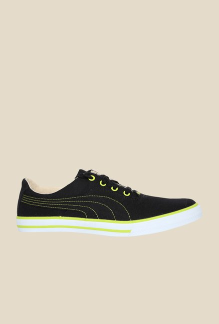 Puma Slyde Black & Lime Punch Sneakers