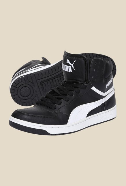 Puma Rebound v3 Hi Black & White Sneakers