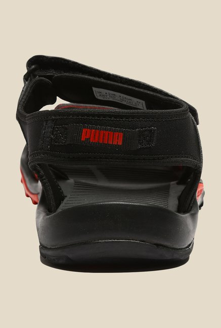 Puma Vesta Lycra DP Black & Risk Red Floater Sandals