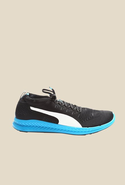 Puma Ignite ProKnit Black & Atomic Blue Running Shoes