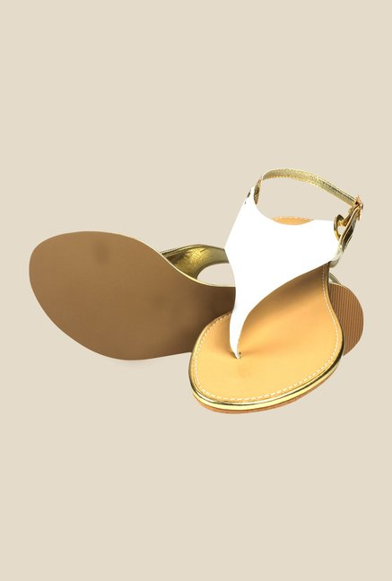 Inc.5 White & Golden Back Strap Sandals