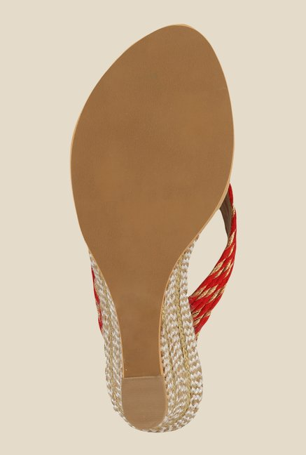 Inc.5 Red & Golden Wedge Heeled Sandals