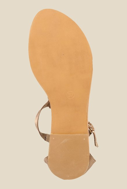 Inc.5 Gold & Beige Ankle Strap Sandals