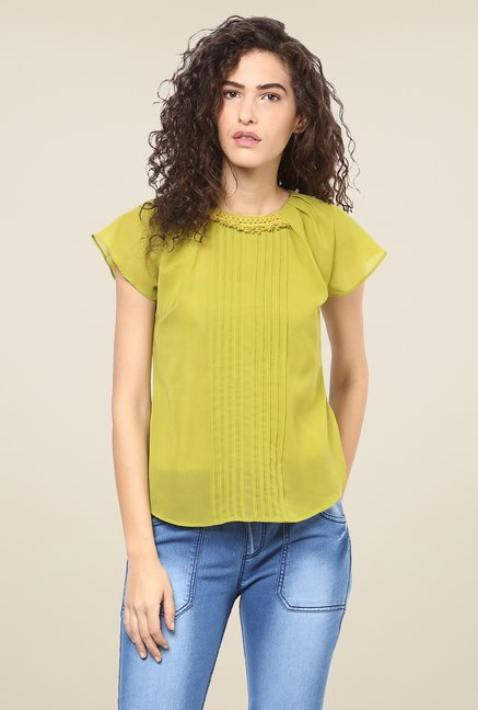 Yepme Green Solid Sheer Top