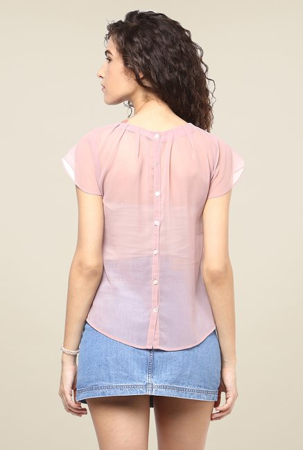 Yepme Pink Solid Sheer Top
