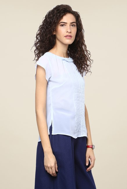 Yepme Blue Solid Sheer Top