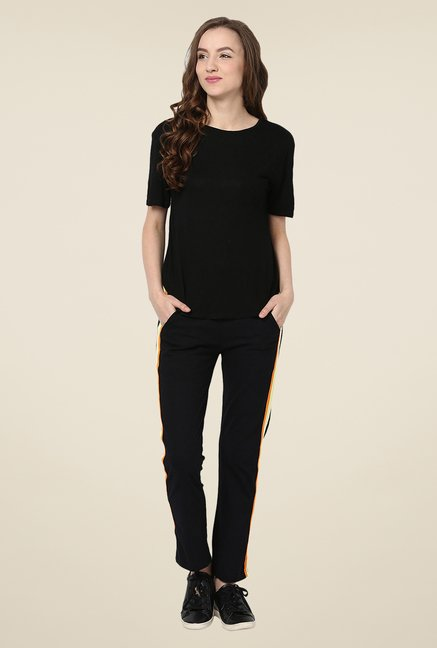 Yepme Black Alba Solid Track pants