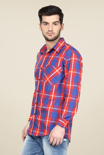 Yepme Royal Blue & Orange Premium Checks Shirt