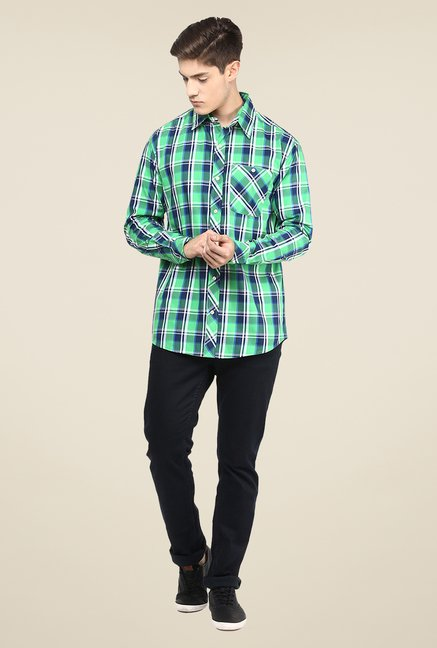 Yepme Green Premium Checks Shirt