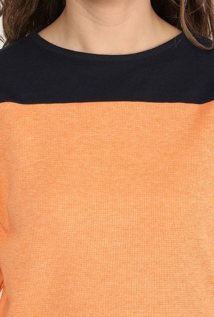Yepme Venice Orange & Black Solid Top