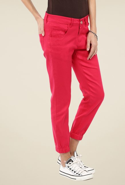 Yepme Red Stephy Solid Joggers