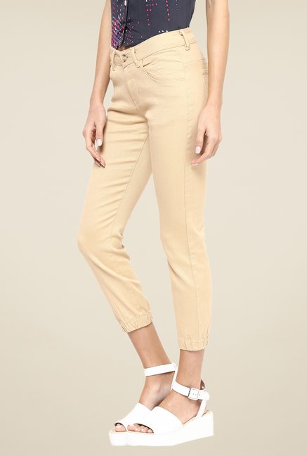 Yepme Beige Stephy Solid Joggers