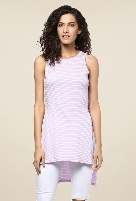 Yepme Purple Striped Asymmetrical Top