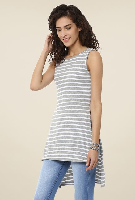Yepme Grey Stripped Asymmetrical Top