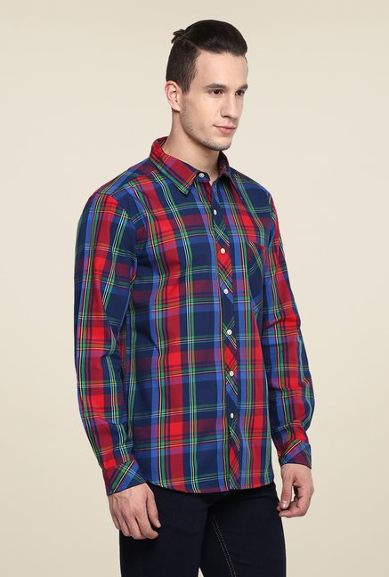 Yepme Blue & Red Premium Checks Cotton Shirt