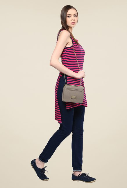 Yepme Ershia Pink Striped Asymmetrical Top